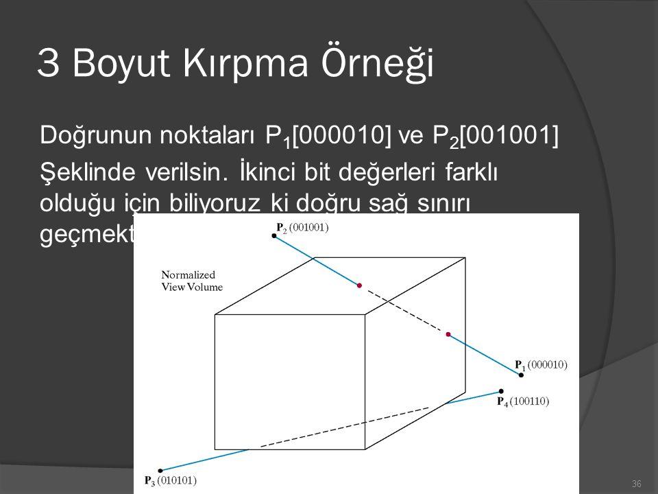 3 Boyut Kırpma Örneği Doğrunun noktaları P1[000010] ve P2[001001]